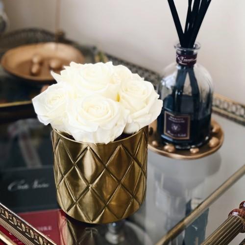 Miegančios rožės metalinėje vazoje (kreminė/šampano)